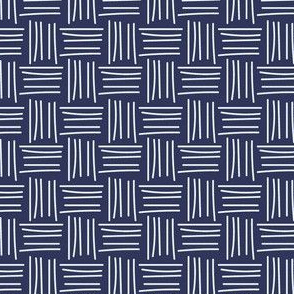 Crosshatch Navy and White