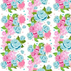 polka Rose tropical  bouquet -pink mint LG665-ed