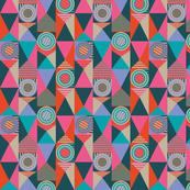 Pop Bright Geometric Circles Stripes Fuchsia Orange