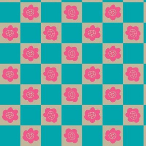 Pop Bright Little Fuchsia Pink Turquoise Floral Geometric Checkers