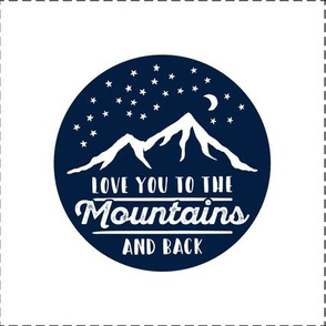 "8.5"" quilt block (navy) - Love you to the mountains and back - with cut lines C19BS"