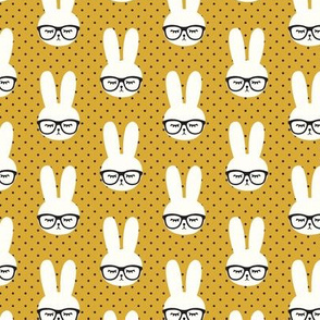 (small scale) bunny with glasses - mustard polka C19BS