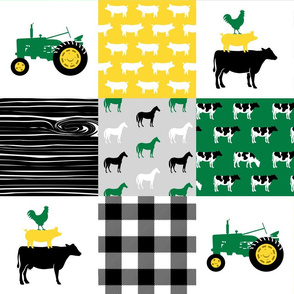 farm patchwork - wholecloth green, custom yellow, and black - woodgrain C19BS