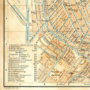 Amsterdam map, antique, large