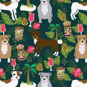 Pitbull tiki fabric - dogs tiki fabric, summer tropical fabric, dogs, dog breeds, dog breed, pitbulls, dog fabric - dark green