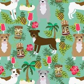 Pitbull tiki fabric - dogs tiki fabric, summer tropical fabric, dogs, dog breeds, dog breed, pitbulls, dog fabric -  green