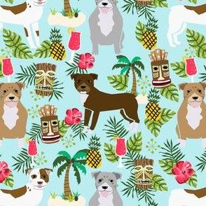 Pitbull tiki fabric - dogs tiki fabric, summer tropical fabric, dogs, dog breeds, dog breed, pitbulls, dog fabric -  light blue