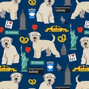 wheaten terrier new york print fabric - wheaten terrier fabric, new york fabric, dog fabric, cute dogs fabric, dogs, dog -  navy