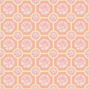 Tropical Tiles Ti Plants Light Pink Cream