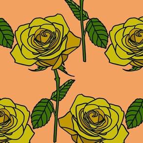 Yellow roses on peach- medium