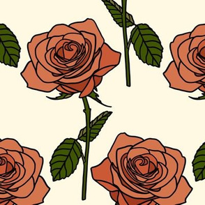 Roses on cream - medium