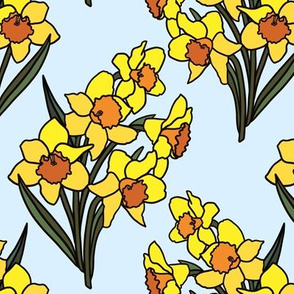 Daffodils on baby blue (small)