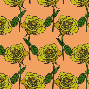 Yellow roses on peach - small