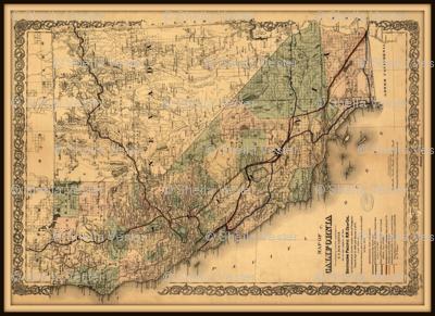 California map, vintage, FQ