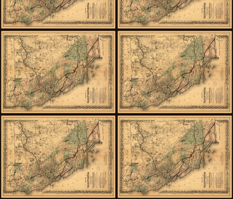 California map, vintage, FQ fabric by svester on Spoonflower - custom fabric