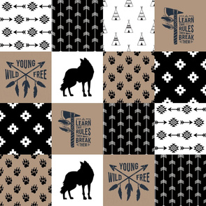 Tribal Fox Wild/Free - WholeCloth Quilt - Cheater Quilt - TWCQ-1