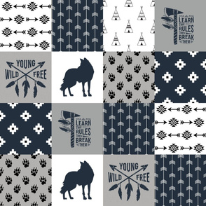 Tribal Fox - Wild/Free - Wholecloth Quilt - Cheater Quilt - TWCQ-2