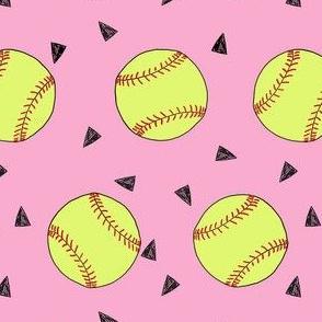 softball fabric - yellow softball fabric, softballs fabric, girls fabric, sports fabric, sports ball, sports - pink