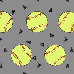 softball fabric - yellow softball fabric, softballs fabric, girls fabric, sports fabric, sports ball, sports -  grey