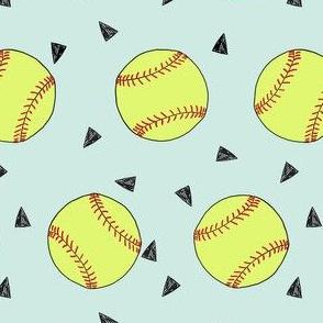 softball fabric - yellow softball fabric, softballs fabric, girls fabric, sports fabric, sports ball, sports -  light mint