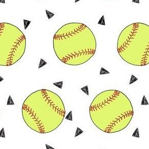 softball fabric - yellow softball fabric, softballs fabric, girls fabric, sports fabric, sports ball, sports -  white