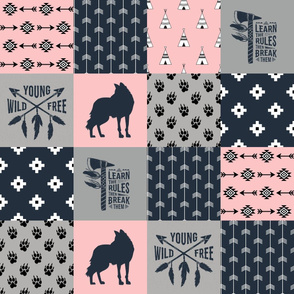 Tribal Fox - Wild/Free - Wholecloth Quilt - Cheater Quilt - TWCQ-3