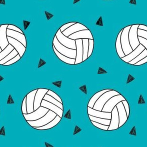 volleyball fabric - sports fabric, beach volleyball, volleyballs, sport, sports fabric -  teal