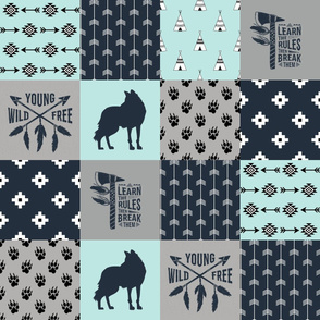 Tribal Fox - Wild/Free - Wholecloth Quilt - Cheater Quilt - TWCQ-4