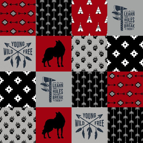 Fox Tribal - Wild/Free - Wholecloth Quilt - Cheater Quilt - TWCQ-5