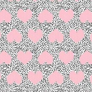 hearts - black dots and pink hearts, heart fabric, girls fabric, cute girls heart fabric