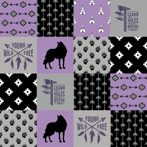 Tribal Fox - Wild/Free - Wholecloth Quilt - Cheater Quilt - TWCQ-6