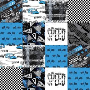 Grunge Car Blue - Wholecloth Quilt - Cheater Quilt - WCAR1