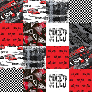 Grunge Car Red - Wholecloth Quilt - Cheater Quilt - CAR2