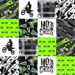 Grunge Motorcross - Lime Green - Wholecloth Quilt - Cheater Quilt - Moto1