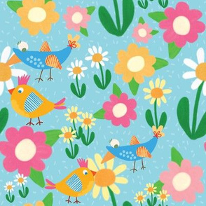 Birds in Spring Blue
