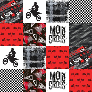 Grunge Motorcross - Red - Wholecloth Quilt - Cheater Quilt - Moto3