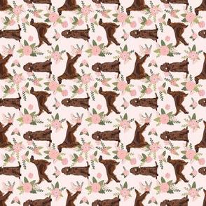 SMALL - rotated irish setter dog floral print - peach florals, flower, cute dog