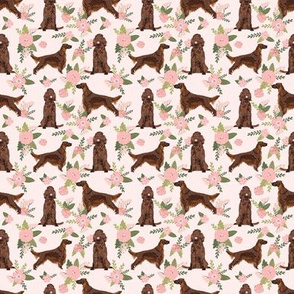 SMALL - irish setter dog floral print - peach florals, flower, cute dog