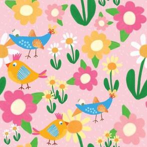 Birds in Spring Pink