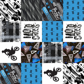 Moto4_Rotated - Grunge Motorcross - Blue - Wholecloth Quilt - Cheater Quilt