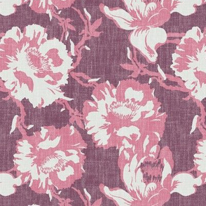 big floral in linen on deep burgundy