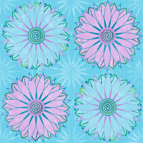 boho tropical mandala flower large scale on light blue