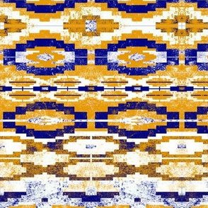 aztec brick horizontal in blue and yellow