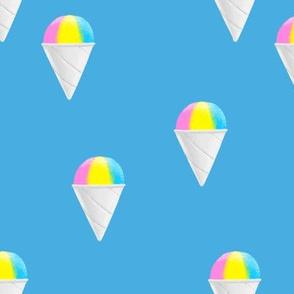 snowcones on blue - summer icecream - LAD19