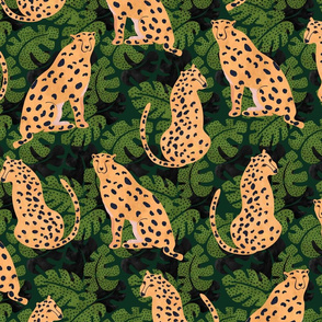 Cheetah on black and green palm leaves