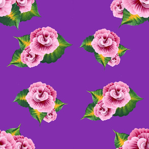 Pink Roses on Purple-Large Scale