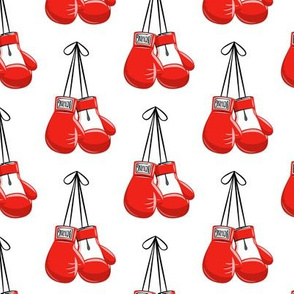 boxing gloves on string - white - LAD19
