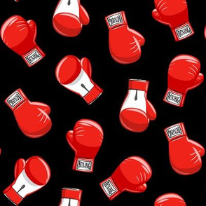 boxing gloves  - red on black - LAD19