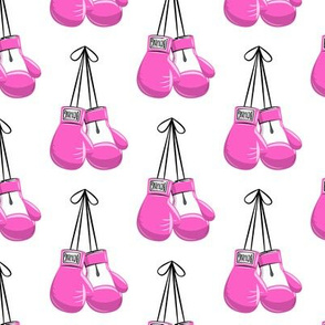 boxing gloves on string -  pink on white - LAD19
