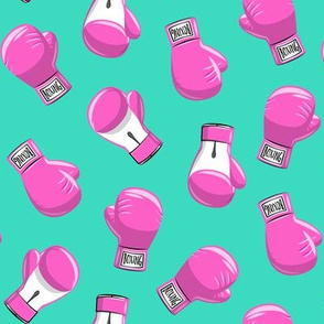 boxing gloves  - pink on teal - LAD19